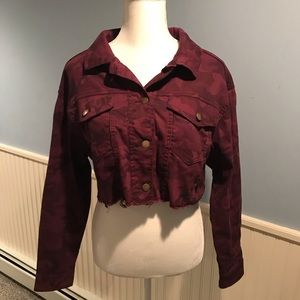 Burgundy Camouflage Cropped Jean Jacket - Medium